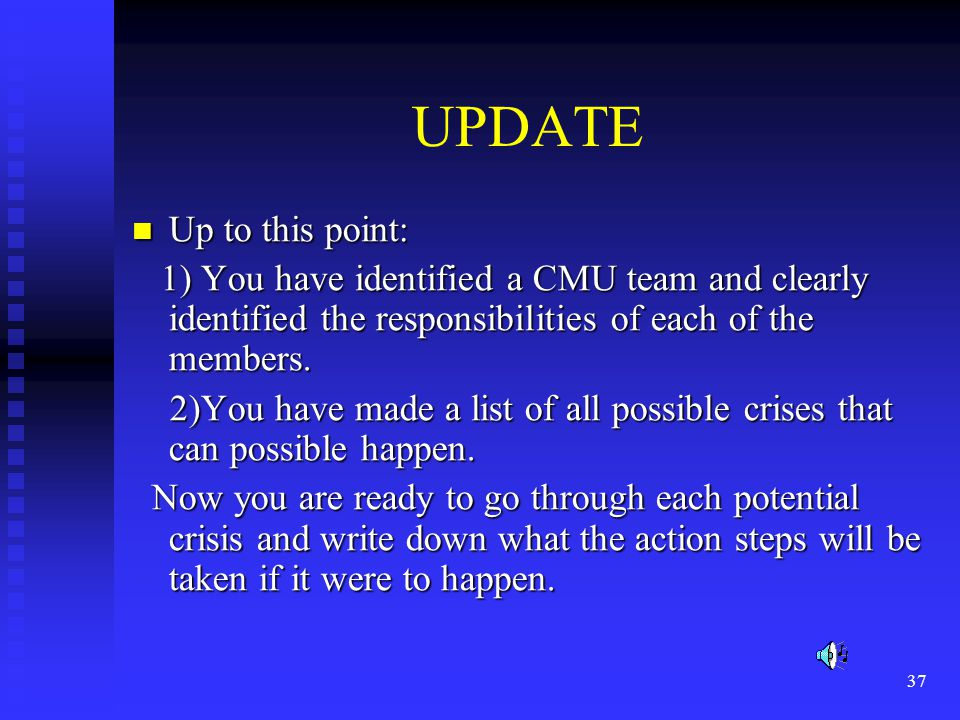 37 UPDATE Up to this point: Up to this point: 1) You have identified a CMU team and clearly identified the responsibilities of each of the members.