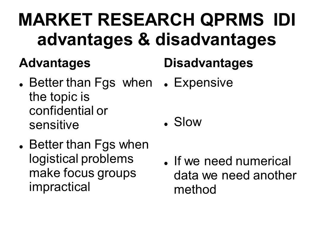 MARKET RESEARCH QPRMS IDI advantages & disadvantages Advantages Better than Fgs when the topic is confidential or sensitive Better than Fgs when logis