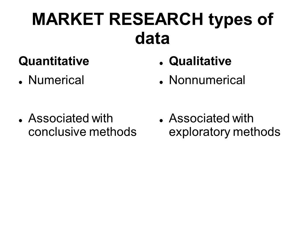 MARKET RESEARCH types of data Quantitative Numerical Associated with conclusive methods Qualitative Nonnumerical Associated with exploratory methods