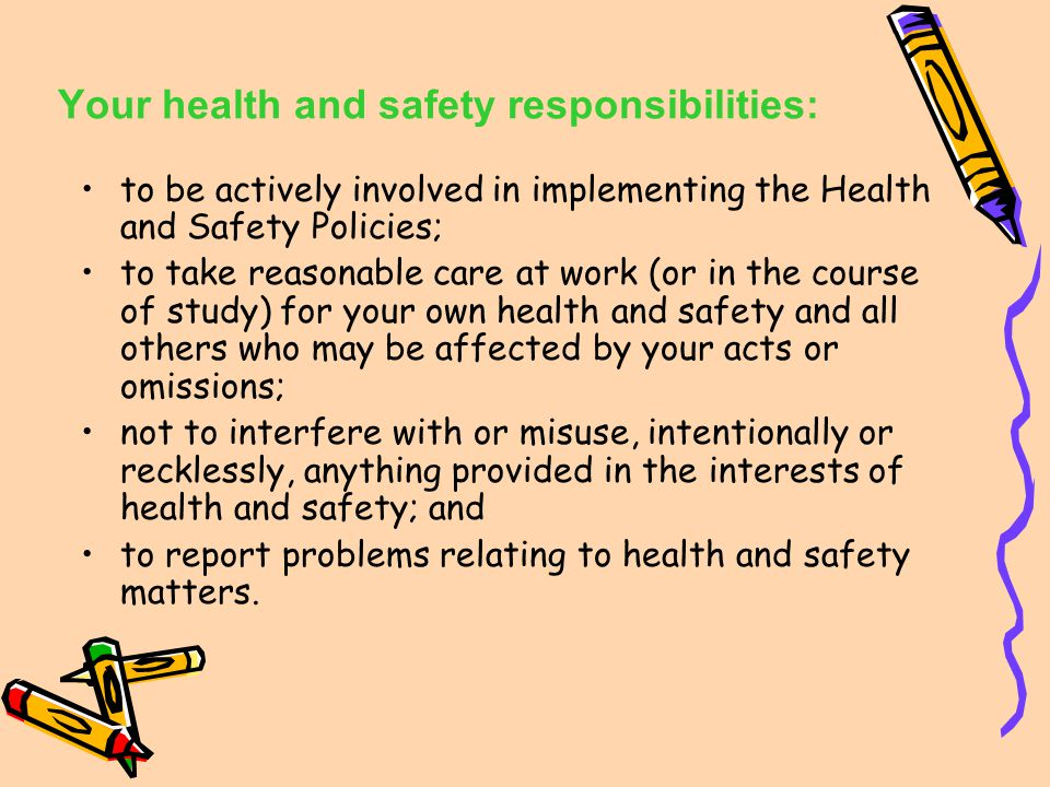 University Health and Safety Policy/ Environmental Policy Health and Safety Policy - to ensure, as far as reasonable practicable, the health and safet