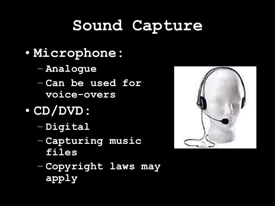 Comparing Bitmap image files and digitised sound files Each sample records data for a pixel –Bitmap: Resolution –Sound: Frequency Bitmap: Number of bits for each sample/number of colours used –Colour depth Sound: Number of bits determines number of signal levels that can be recorded –Sampling Depth
