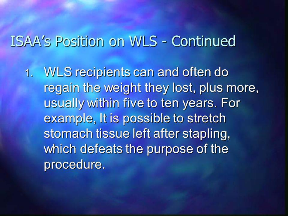 ISAAs Position on WLS - Continued 1.