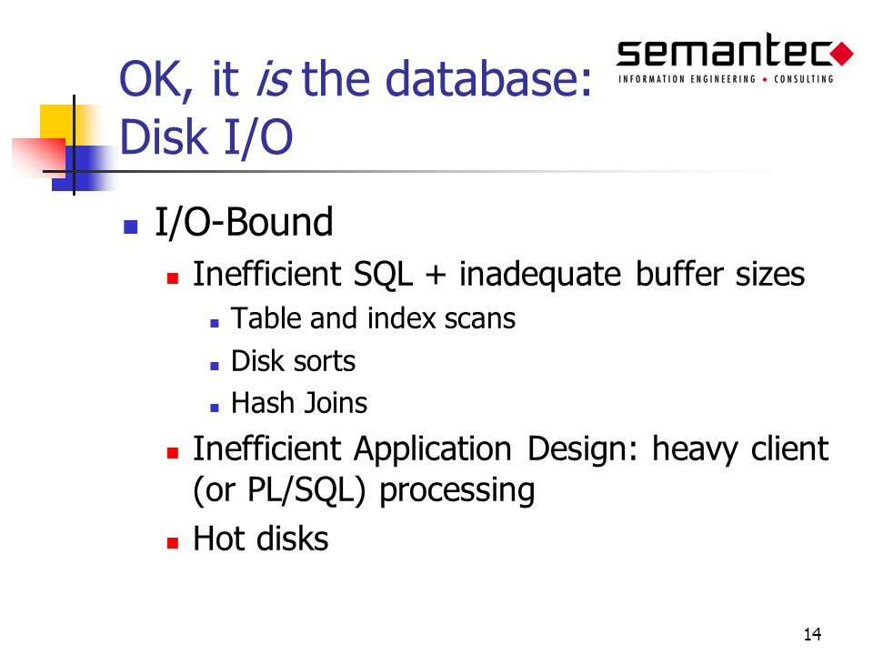 14 OK, it is the database: Disk I/O I/O-Bound Inefficient SQL + inadequate buffer sizes Table and index scans Disk sorts Hash Joins Inefficient Application Design: heavy client (or PL/SQL) processing Hot disks