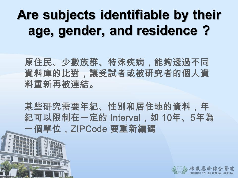 Are subjects identifiable by their age, gender, and residence ? Interval 10 5 ZIPCode