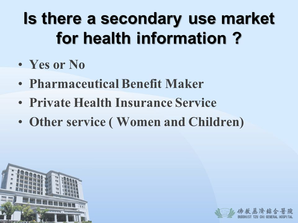 Is there a secondary use market for health information ? Yes or No Pharmaceutical Benefit Maker Private Health Insurance Service Other service ( Women