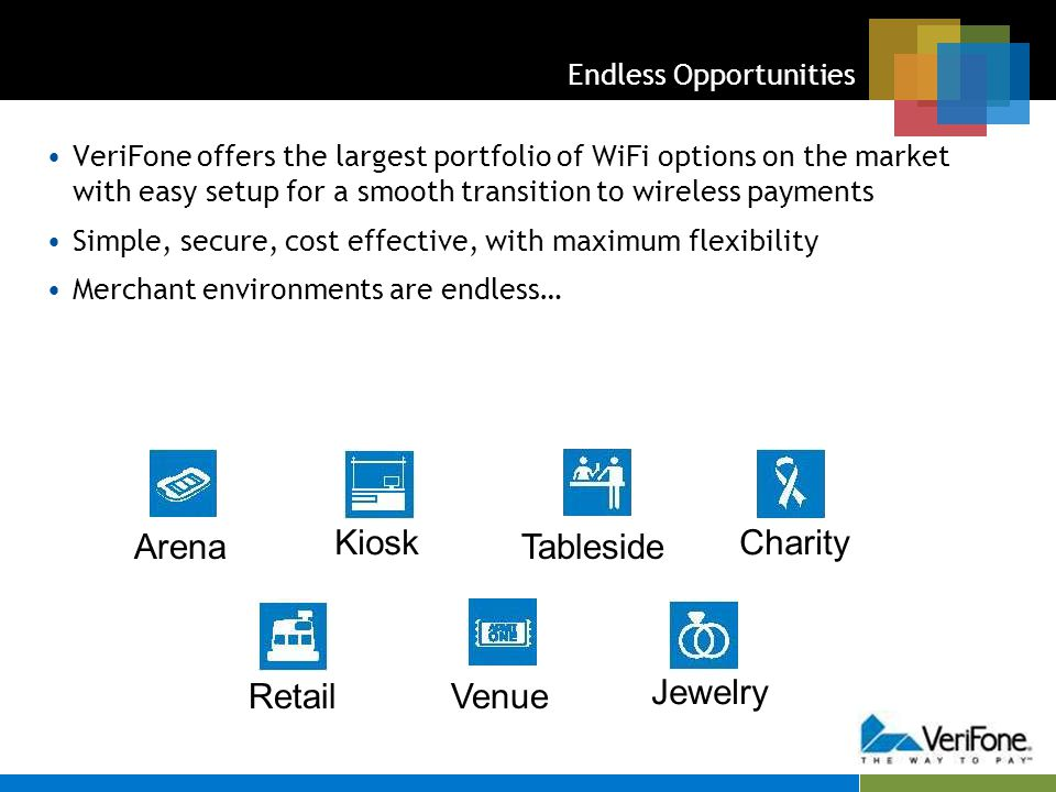 Endless Opportunities VeriFone offers the largest portfolio of WiFi options on the market with easy setup for a smooth transition to wireless payments Simple, secure, cost effective, with maximum flexibility Merchant environments are endless… Arena Kiosk Tableside Charity RetailVenue Jewelry