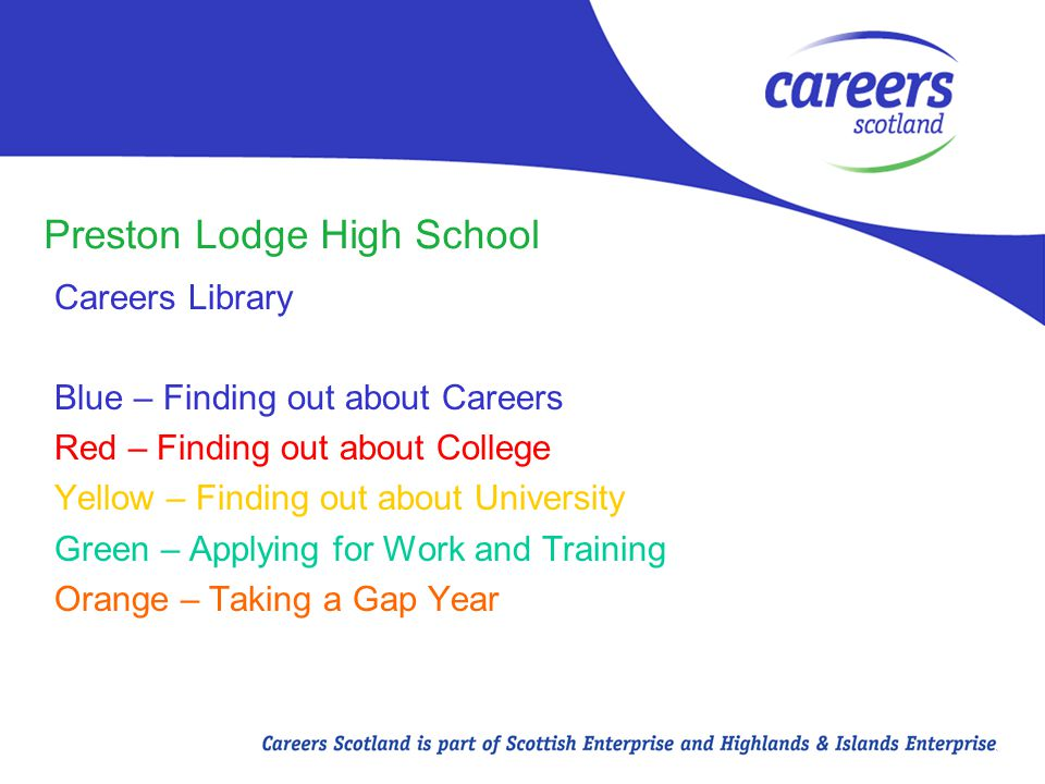 Preston Lodge High School Careers Library Blue – Finding out about Careers Red – Finding out about College Yellow – Finding out about University Green – Applying for Work and Training Orange – Taking a Gap Year