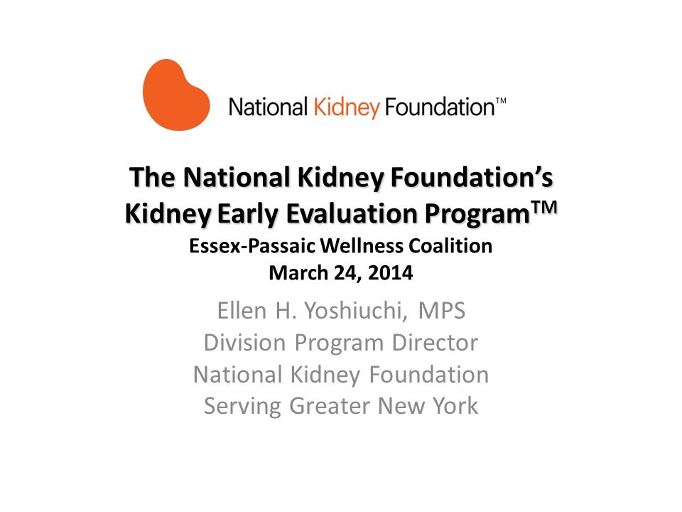 The National Kidney Foundations Kidney Early Evaluation Program TM The National Kidney Foundations Kidney Early Evaluation Program TM Essex-Passaic We