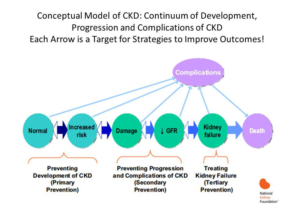 Conceptual Model of CKD: Continuum of Development, Progression and Complications of CKD Each Arrow is a Target for Strategies to Improve Outcomes!