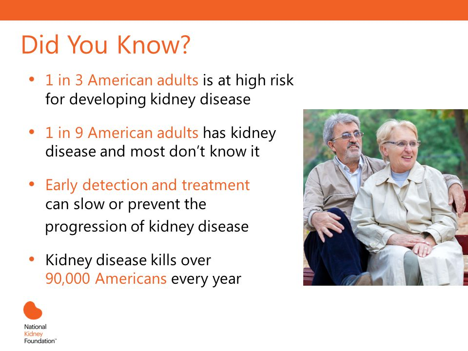 Did You Know? 1 in 3 American adults is at high risk for developing kidney disease 1 in 9 American adults has kidney disease and most dont know it Ear