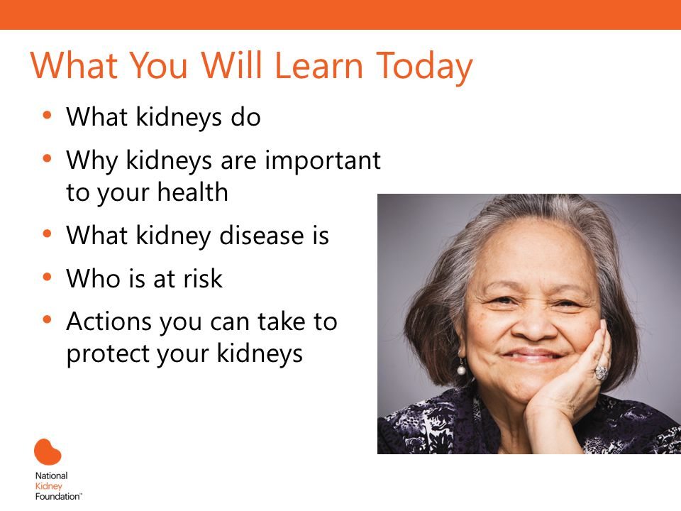 What You Will Learn Today What kidneys do Why kidneys are important to your health What kidney disease is Who is at risk Actions you can take to prote