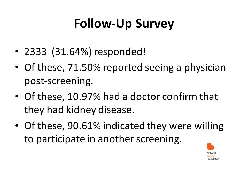 Follow-Up Survey 2333 (31.64%) responded! Of these, 71.50% reported seeing a physician post-screening. Of these, 10.97% had a doctor confirm that they