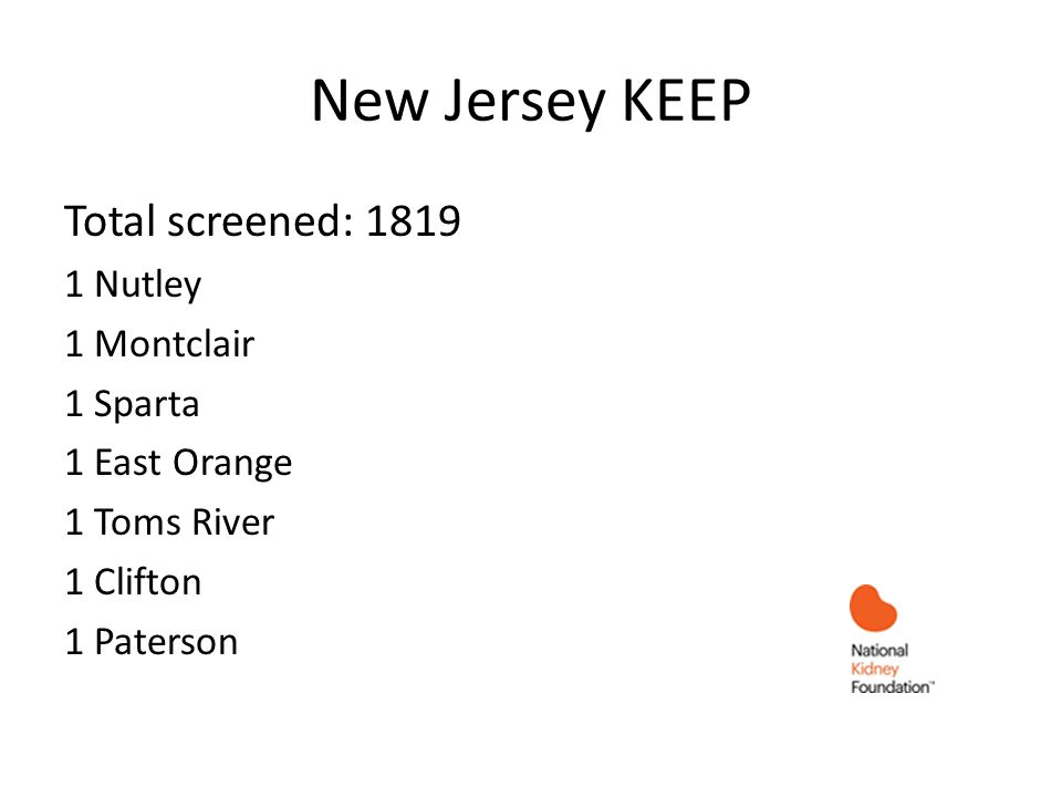 New Jersey KEEP Total screened: 1819 1 Nutley 1 Montclair 1 Sparta 1 East Orange 1 Toms River 1 Clifton 1 Paterson