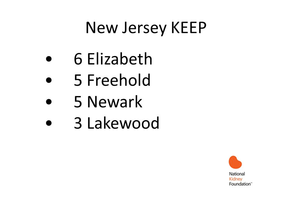 New Jersey KEEP 6 Elizabeth 5 Freehold 5 Newark 3 Lakewood