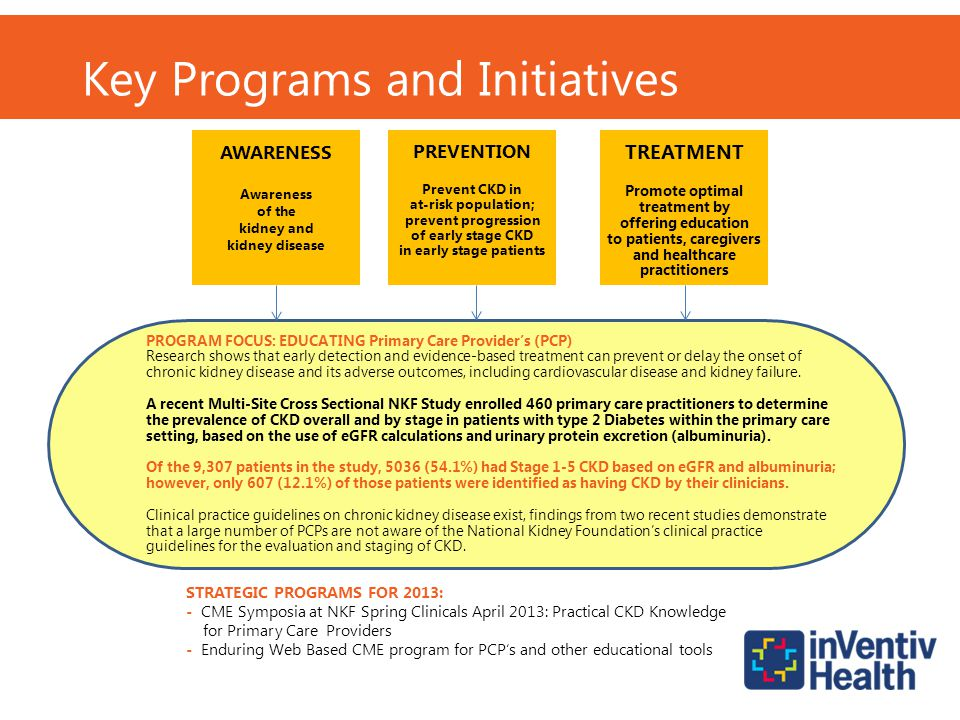 TREATMENT Promote optimal treatment by offering education to patients, caregivers and healthcare practitioners PREVENTION Prevent CKD in at-risk popul