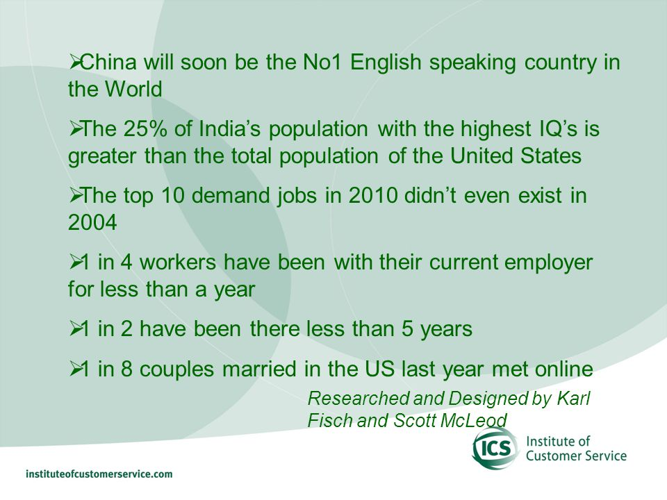 China will soon be the No1 English speaking country in the World The 25% of Indias population with the highest IQs is greater than the total population of the United States The top 10 demand jobs in 2010 didnt even exist in 2004 1 in 4 workers have been with their current employer for less than a year 1 in 2 have been there less than 5 years 1 in 8 couples married in the US last year met online Researched and Designed by Karl Fisch and Scott McLeod