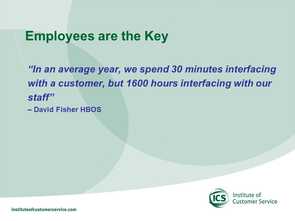 Employees are the Key In an average year, we spend 30 minutes interfacing with a customer, but 1600 hours interfacing with our staff – David Fisher HBOS