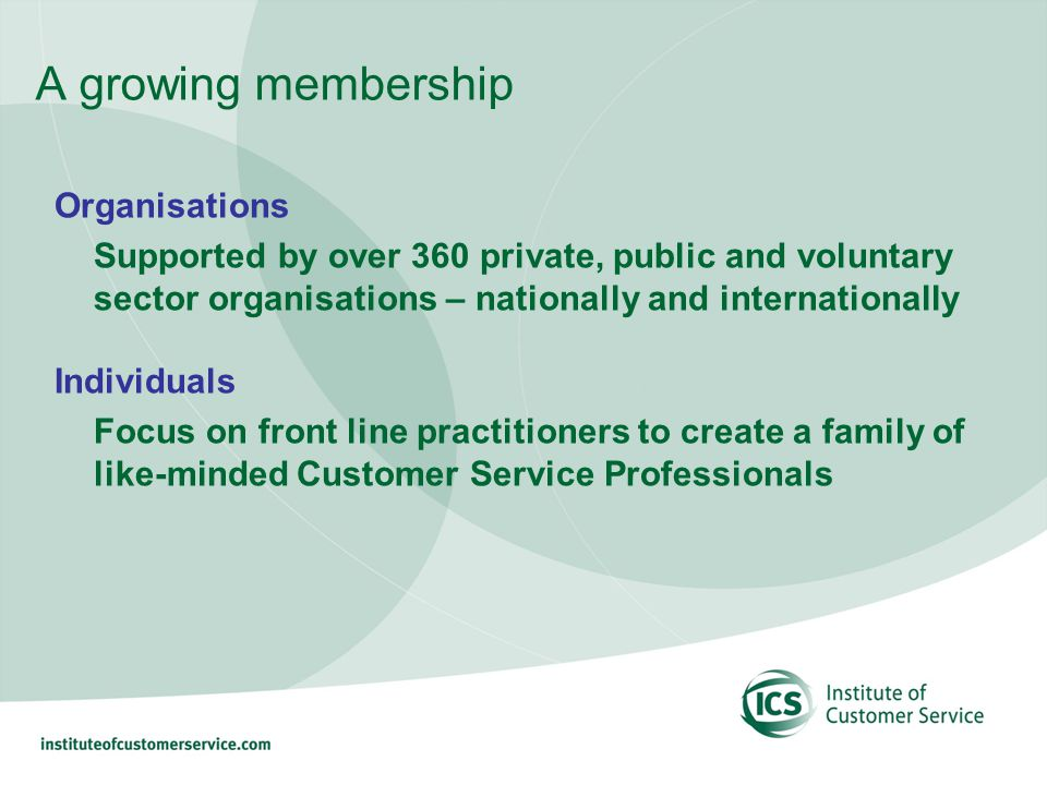A growing membership Organisations Supported by over 360 private, public and voluntary sector organisations – nationally and internationally Individuals Focus on front line practitioners to create a family of like-minded Customer Service Professionals