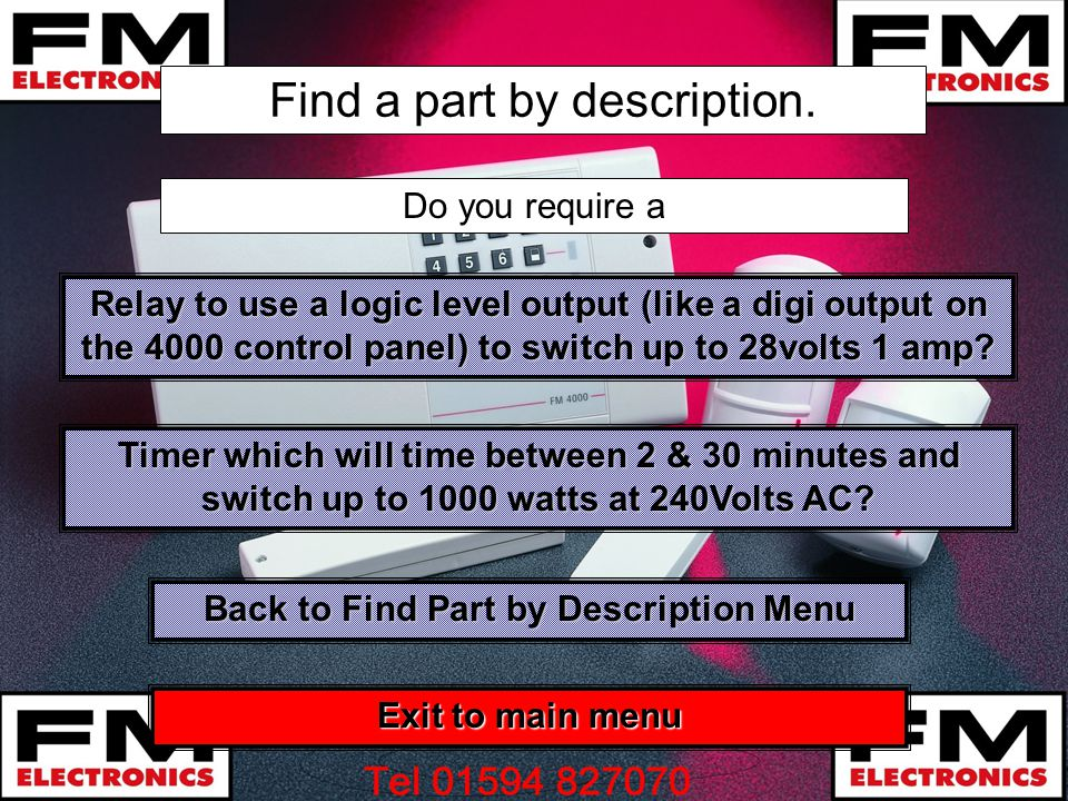 Find a part by description. Do you require a Timer which will time between 2 & 30 minutes and switch up to 1000 watts at 240Volts AC? Timer which will