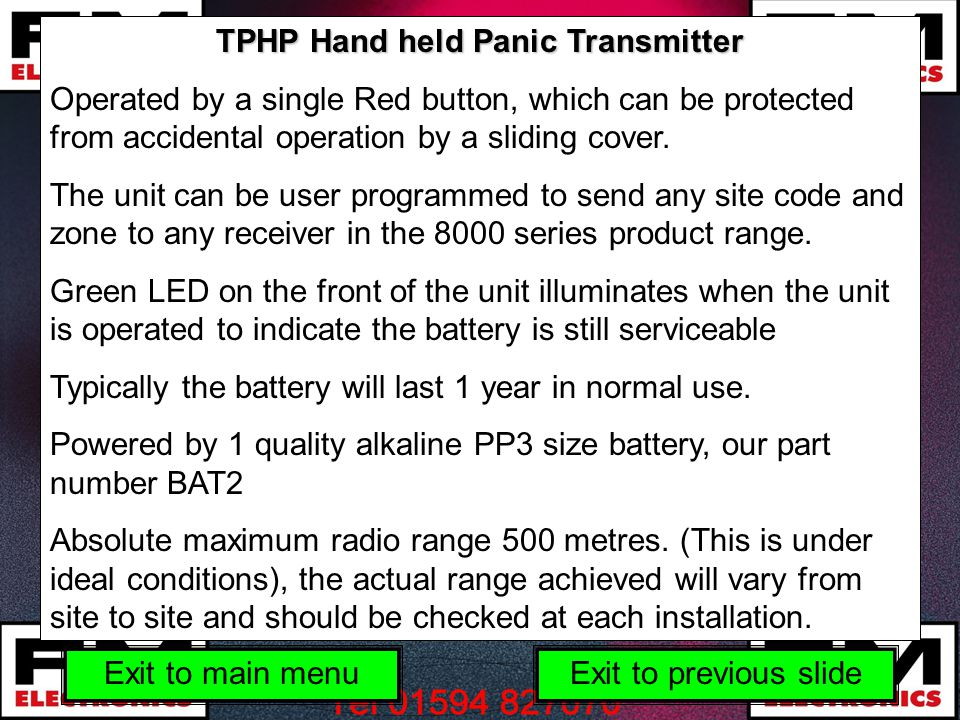 TPHP Hand held Panic Transmitter Operated by a single Red button, which can be protected from accidental operation by a sliding cover.