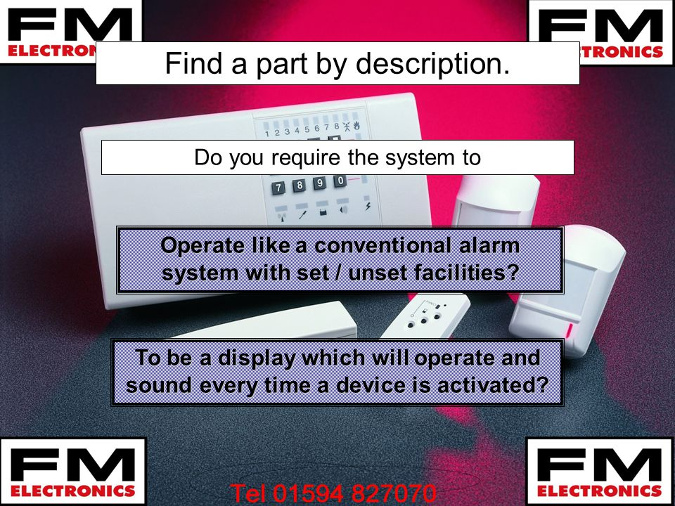 Find a part by description.Operate like a conventional alarm system with set / unset facilities.