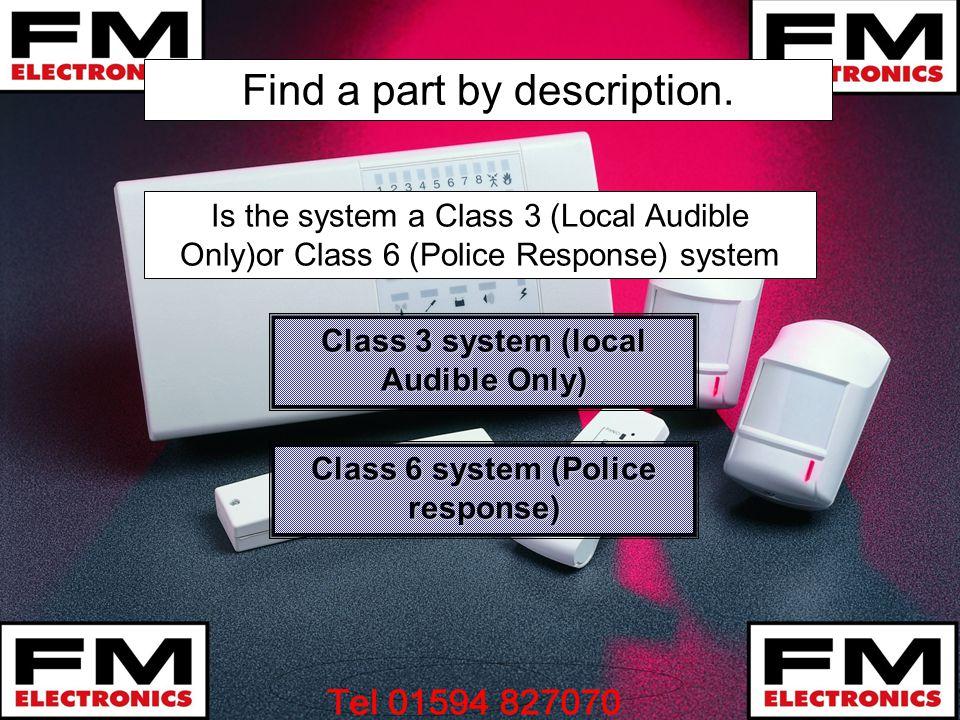 Find a part by description. Class 3 system (local Audible Only) Class 3 system (local Audible Only) Class 6 system (Police response) Class 6 system (P