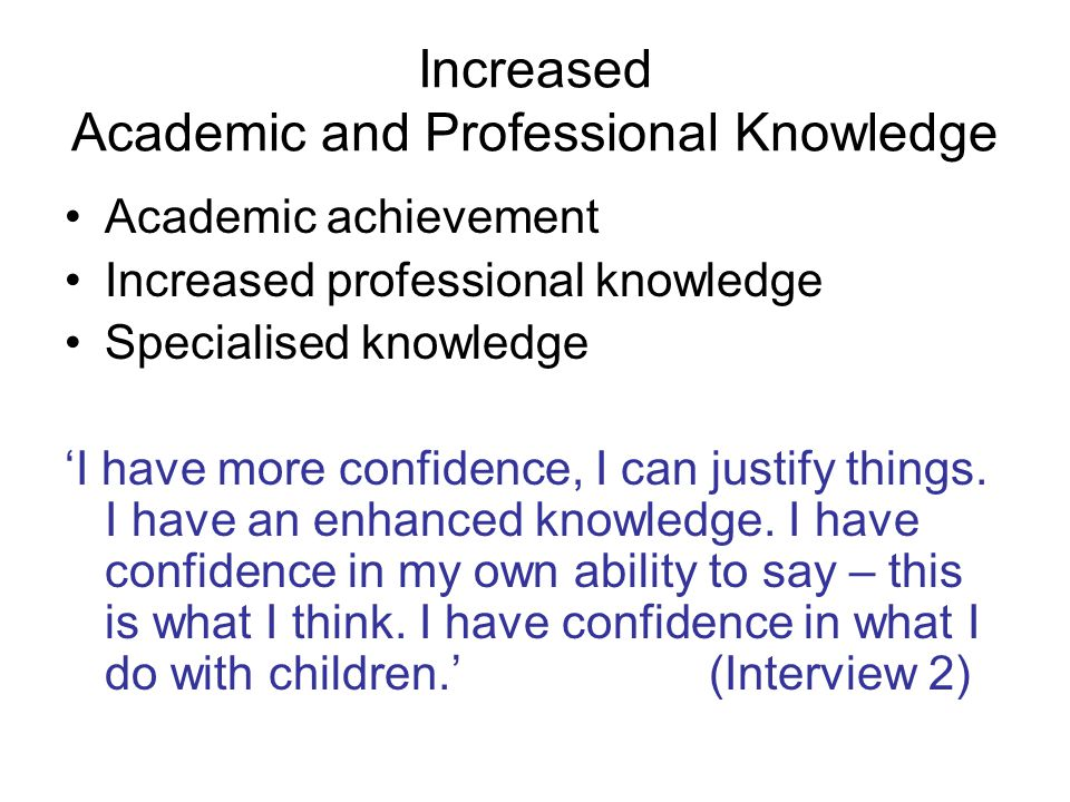 View themselves as a professional contributing to Early Years sector Articulate their professional knowledge in meetings Discuss knowledge and practice with other professionals Share knowledge with others as mentors Challenge other professionals Women as Professionals