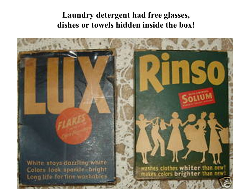 Laundry detergent had free glasses, dishes or towels hidden inside the box!
