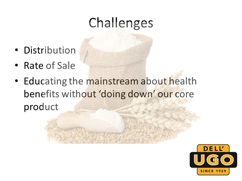 Challenges Distribution Rate of Sale Educating the mainstream about health benefits without doing down our core product