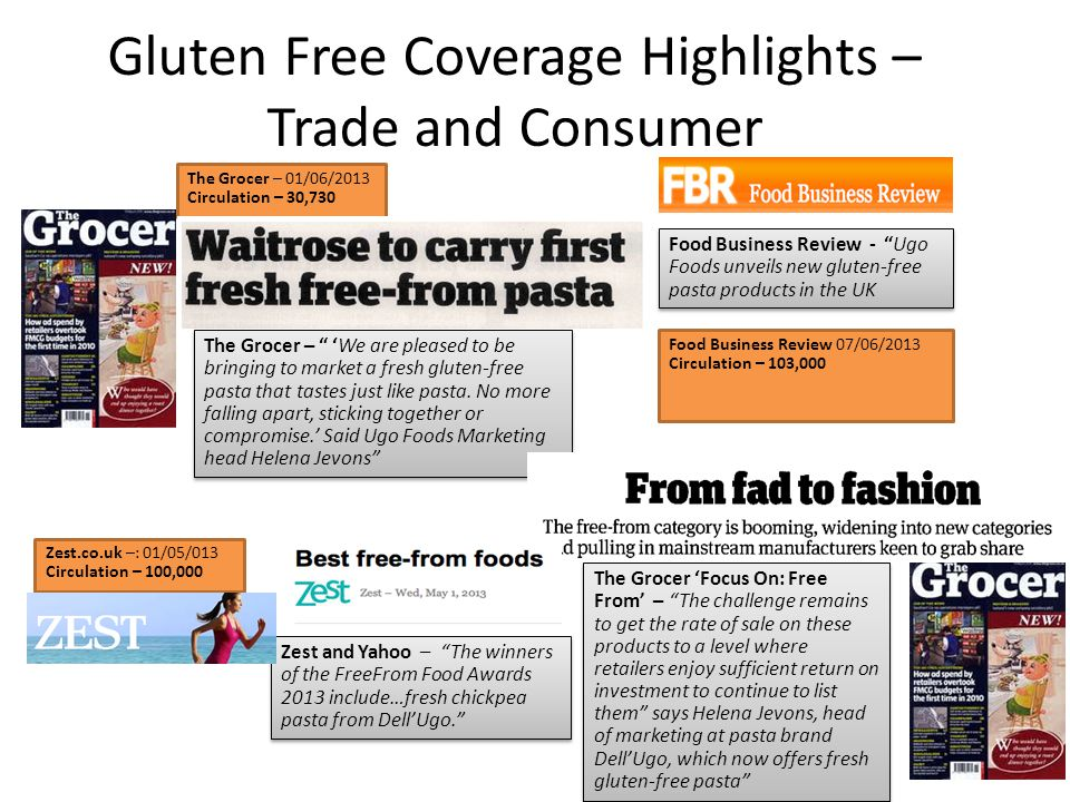 Gluten Free Coverage Highlights – Trade and Consumer The Grocer – We are pleased to be bringing to market a fresh gluten-free pasta that tastes just like pasta.