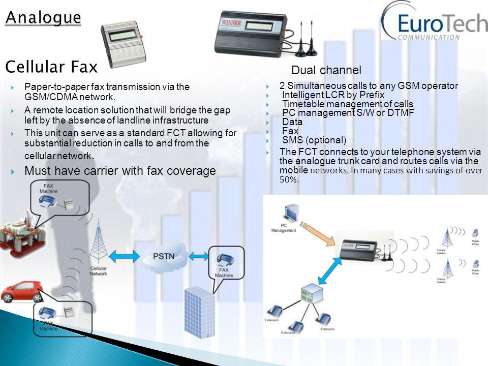 2 Simultaneous calls to any GSM operator Intelligent LCR by Prefix Timetable management of calls PC management S/W or DTMF Data Fax SMS (optional) The FCT connects to your telephone system via the analogue trunk card and routes calls via the mobile networks.