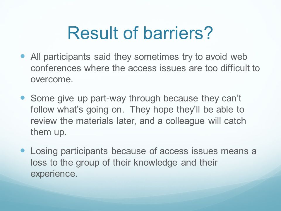 Result of barriers.