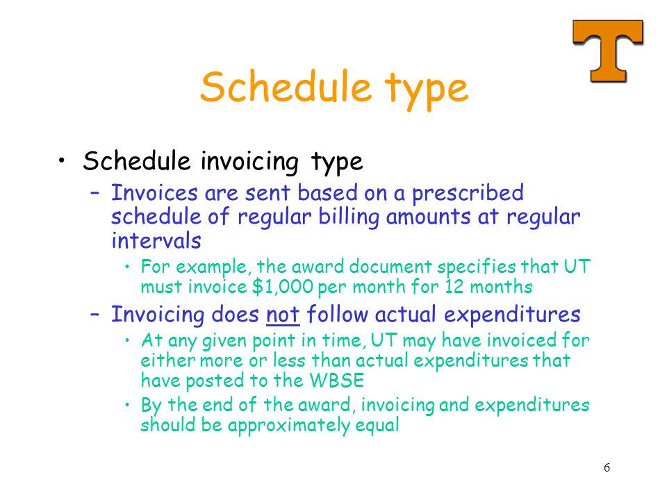 6 Schedule type Schedule invoicing type –Invoices are sent based on a prescribed schedule of regular billing amounts at regular intervals For example,
