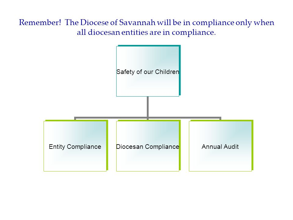 Remember! The Diocese of Savannah will be in compliance only when all diocesan entities are in compliance. Safety of our Children Entity Compliance Di