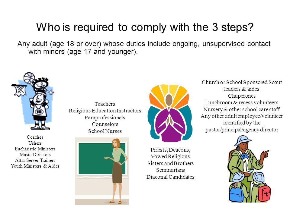 To ensure the local entity (parish/school/agency) is in compliance, follow these simple steps: Identify an individual at the local entity to monitor/coordinate Safe Environment responsibilities.