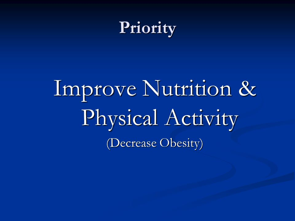 Priority Improve Nutrition & Physical Activity (Decrease Obesity)
