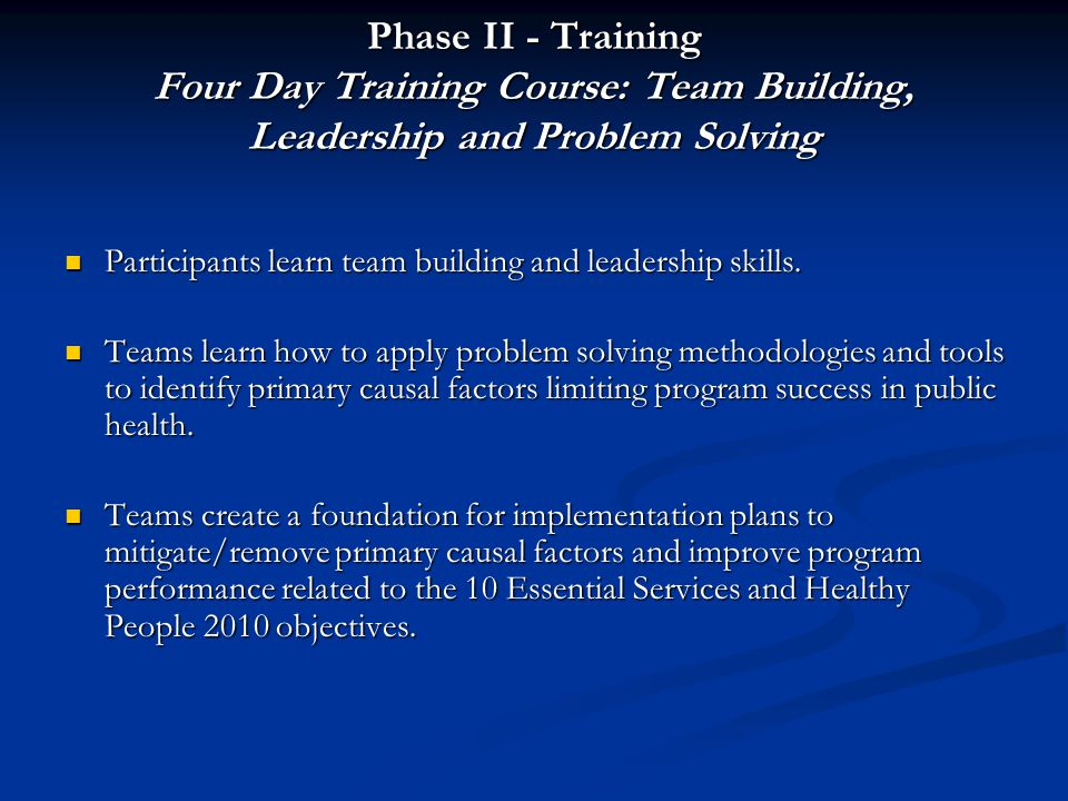 Phase II - Training Four Day Training Course: Team Building, Leadership and Problem Solving Participants learn team building and leadership skills. Pa