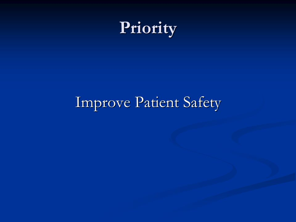 Priority Improve Patient Safety
