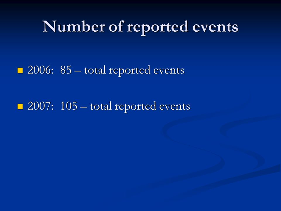 Number of reported events 2006: 85 – total reported events 2006: 85 – total reported events 2007: 105 – total reported events 2007: 105 – total report