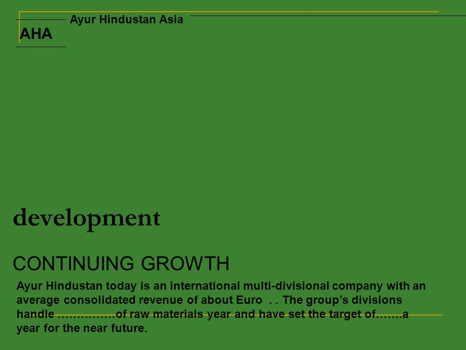 development CONTINUING GROWTH Ayur Hindustan today is an international multi-divisional company with an average consolidated revenue of about Euro..