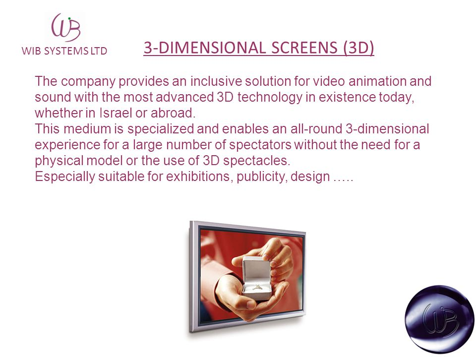 WIB SYSTEMS LTD The company provides an inclusive solution for video animation and sound with the most advanced 3D technology in existence today, whet
