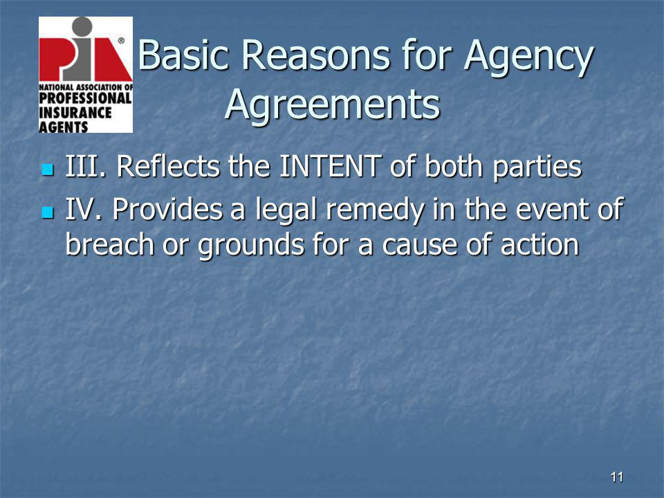 11 Basic Reasons for Agency Agreements III. Reflects the INTENT of both parties III. Reflects the INTENT of both parties IV. Provides a legal remedy i