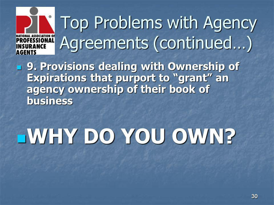 30 Top Problems with Agency Agreements (continued…) Top Problems with Agency Agreements (continued…) 9. Provisions dealing with Ownership of Expiratio