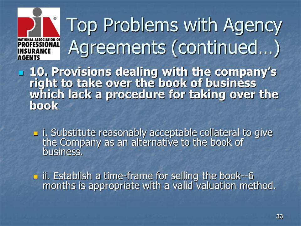 33 Top Problems with Agency Agreements (continued…) Top Problems with Agency Agreements (continued…) 10. Provisions dealing with the companys right to