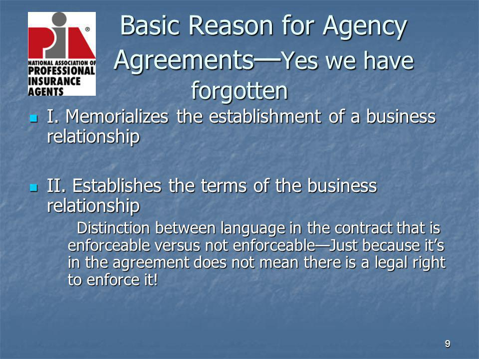 9 Basic Reason for Agency Agreements Yes we have forgotten I. Memorializes the establishment of a business relationship I. Memorializes the establishm