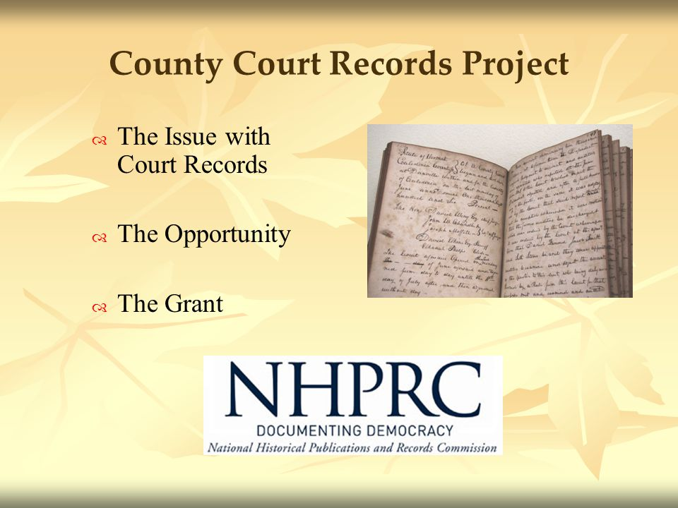 County Court Records Project The Issue with Court Records The Opportunity The Grant