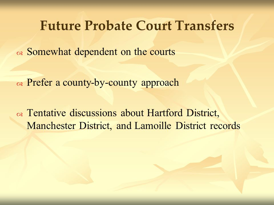 Future Probate Court Transfers Somewhat dependent on the courts Prefer a county-by-county approach Tentative discussions about Hartford District, Manchester District, and Lamoille District records