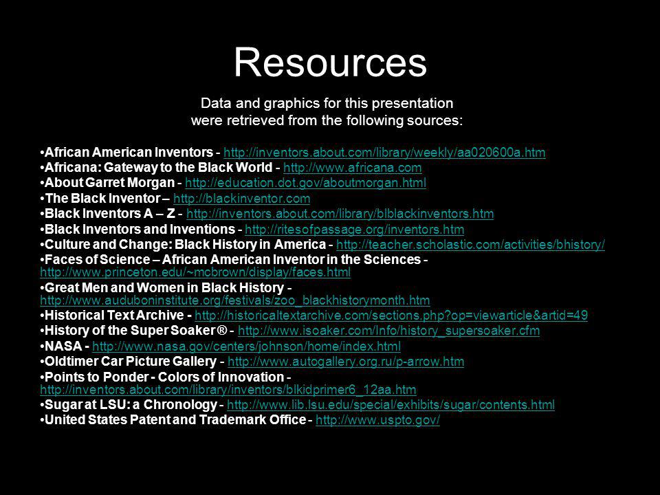Resources Data and graphics for this presentation were retrieved from the following sources: African American Inventors - http://inventors.about.com/l