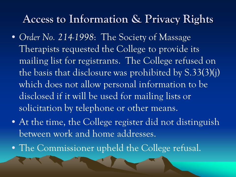 Access to Information & Privacy Rights Order No.