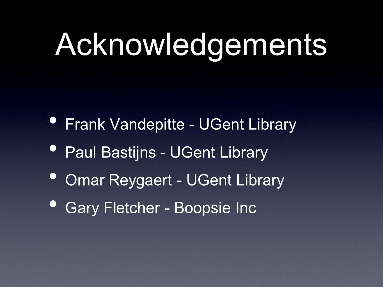 Acknowledgements Frank Vandepitte - UGent Library Paul Bastijns - UGent Library Omar Reygaert - UGent Library Gary Fletcher - Boopsie Inc